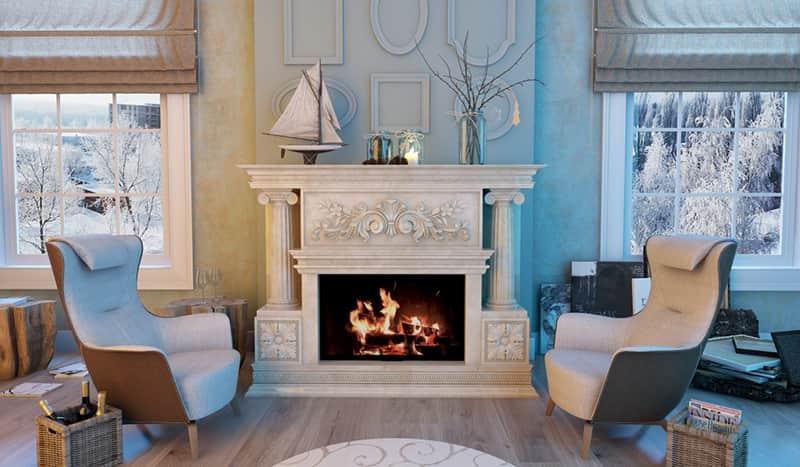 дизайн камина на дровах в доме, фото